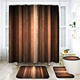 ArtSocket 4 Pcs Shower Curtain Set Orange Copper Pale Peach Abstract Fall Warm Artistic Vintage Bright Retro with Non-Slip Rugs Toilet Lid Cover and Bath Mat Bathroom Decor Set 72' x 72'
