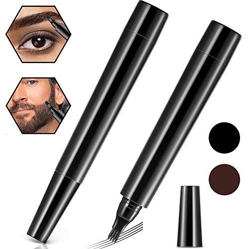 Kit De BolíGrafo De Relleno Para Barba,2 Piezas Relleno de lápiz de barba para hombres,a prueba de agua,de larga duración,kit de bolígrafo de relleno de barba para bigotes y cejas(Marrón oscuro&Negro)
