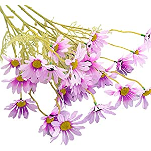 Silk Flower Arrangements 5PC Simulation Small Daisy Cosmos Decoration Props Artificial Flower Party Decor Garden Porch Plant Decoration Props for Wedding Yard Home Table Decor Gift for Mother, Girlfriend, Wife (Purple)