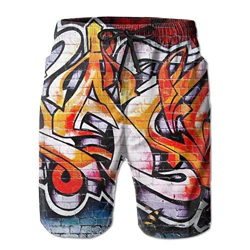 GOSMAO Swimming Trunks Summer Mens Board Kurze Gra-ffiti Art Pattern Elastische Taille Casual Shorts Boys Beach Boardshort