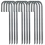 Toopify 12 Pack Rebar Stakes, 12 Inch J Hook Heavy Duty Galvanized Ground Anchors for Secure Tent Fence