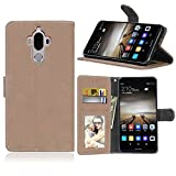 Zl One Matting PU Leather Protection 3 Card Slots Wallet Flip Case Cover for Huawei Mate 9 (Beige)