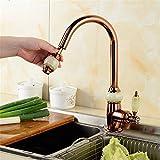 mmfhp lavabo grifo cocina de cobre color acero inoxidable giratorio grifo