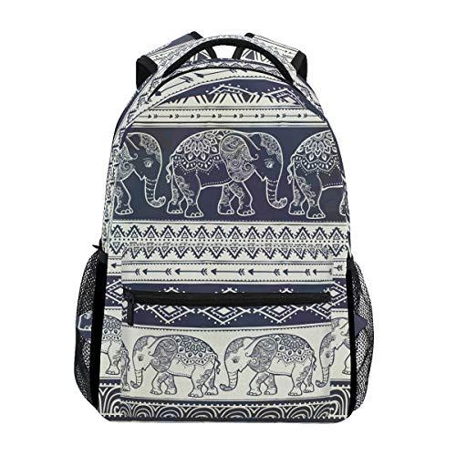 ALAZA Elephant Boho Mandala Style Stylish Large Backpack Personalized Laptop iPad Tablet Travel School Bag with Multiple Pockets for Men Women College