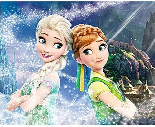 Pintura de diamante 5D , pintura de diamante de la Disney, pintura de dibujos animados, pintura de diamante bordado, artesanía (hielo y nieve princesa Aisha 30×40cm)