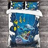 AIMILUX Funda Edredón,Tiburón Gigante Tiburón Dibujos Animados Dientes Mundo Submarino,Ropa de Cama Funda Nórdica,1(240x260cm)+2(50x80cm)