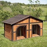【アメリカBoomer & George 】 犬小屋 超大型犬ドッグハウス アメリカBoomer & George ドッグハウス ダークステインデュプレックスドッグハウスwith FREE Dog Doors
