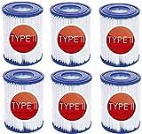 QWEWQE 6 cartuchos de filtro para piscina Bestway II, tamaño 2, filtro...