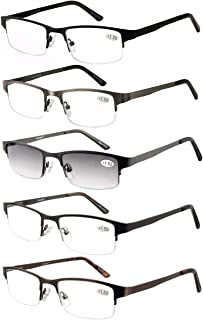 Eyecedar Metal Half-Frame Reading Glasses Men 5-Pack Spring Hinges Stainless Steel Material Includes Sun Readers +1.50