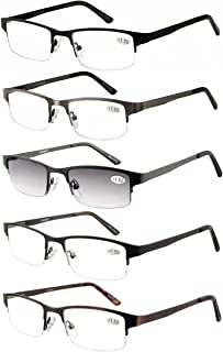 Eyecedar Metal Half-Frame Reading Glasses Men 5-Pack Spring Hinges Stainless Steel Material Includes Sun Readers +1.75