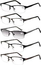 Amcedar 5-pack Gafas de lectura Hombres Medio Marco Estilo Acero Inoxidable Materiales Metal Bisagras de Resorte incluye Gafas sol de Lectura +1.50