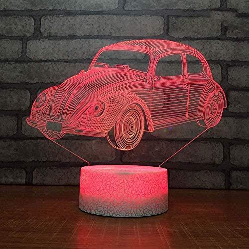 HYY-YY Decoración para el hogar LED 7 cambio de color 3D USB lámpara de escritorio sueño Iluminación creativa novedad acrílico vehículo modelado Navidad noche luz s, año regalo