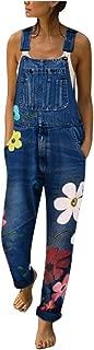 Lazapa Jeans for Women, Fall Fashion Print Denim Jumpsuit Loose Sling Bootcut Denim Jeans Sweet Straight Wild Trousers