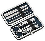 du Beau - Set de manicura y pedicura (7 piezas, incluye estuche de viaje de piel sintética acolchada, muy compacto)