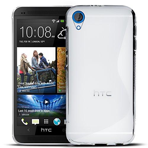 Conie SC5871 S Line Hülle Kompatibel mit HTC Desire 820, TPU Smartphone Hülle Transparent Matt rutschfeste Oberfläche für Desire 820 Rückseite Design Clear