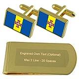 Select Gifts Bandera de Madeira de Tono Oro Gemelos Money Clip Grabado Set de Regalo