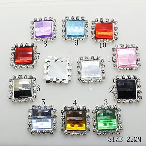 Lot de 30 boutons carrés en acrylique à dos plat 22 mm x 22 mm