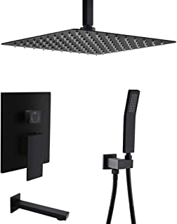 STARBATH Shower System with Tub Spout, Bathroom Luxury Rain Mixer Shower Combo Set with10 Inch Shower Head and Handheld Complete Set, Shower Faucet Rough-in Mixer Valve, Matte Black