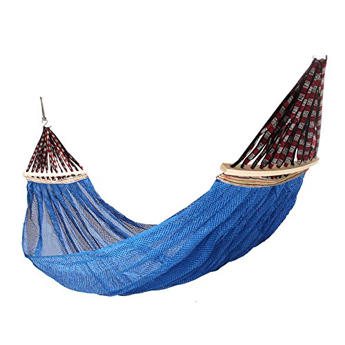MMWYC Hammock Camping Outdoor Hammock, 1 Person 200 X 150 Cm(78.7x59 In), Double Mesh Ventilation, Portable Hammock With Spreader Bars, Beach And Travel Multi-color Optional (Color : Blue)