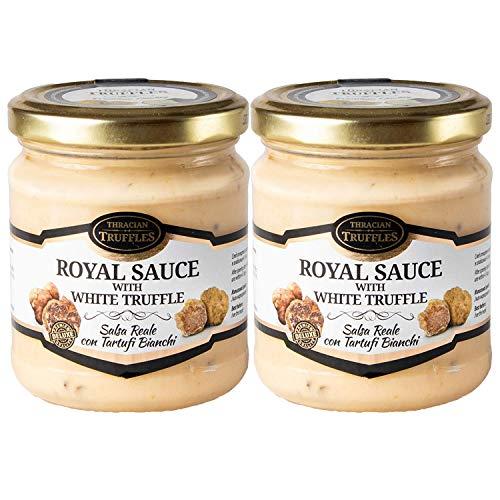 White truffle sauce ? ROYAL ? Witte truffelsaus Tuber borchi en Tuber Magnatum Pico met Room en Kaas, Ideaal voor Vlees, Gegrild Brood, Omeletten, Pasta, Risotto, Sushi 2 x 180g
