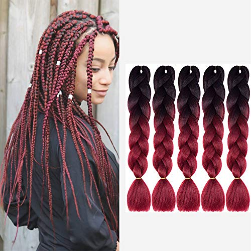 Mychanson Synthetic Braiding Hair 24 Inch Black Wine Red Ombre Color Jumbo Twist Braids(5Pcs Black-Wine Red)