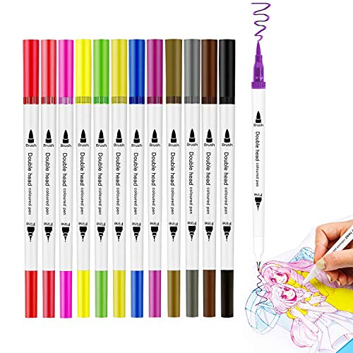 Dual Tips Markers Brush Pen, 12 Coloring Brush and Fine Tip Art Marker Set for Dual Brush Pens for Calligraphy, Drawing, Manga, Bullet Journal