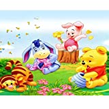 5D DIY Diamond Painting by Number Kit for Adults and Kids,Winnie The Pooh and Stitch Cute Round Dril Beads Crystal Rhinestone Cross Stitch Picture Supplies Arts Craft Wall Sticker Dcor,16'X12'