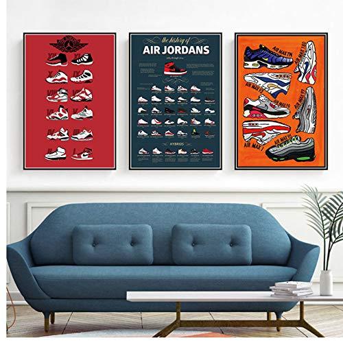 Wandkunst Malerei Print Sneaker Auf Leinwand Poster Dekoration Für Wohnzimmer 60x80x3 Stücke cm Kein Rahmen