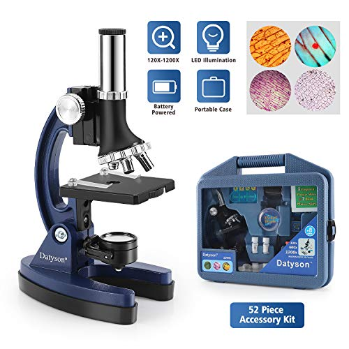 52Pcs Beginners Microscope Kit for Kids, 120X, 600X, 1200X Magnification Science Kits, Complete STEM Microscope Set with Dual-Light Illuminatio, Basic Biology Prepared Slides,Square Cover Glass