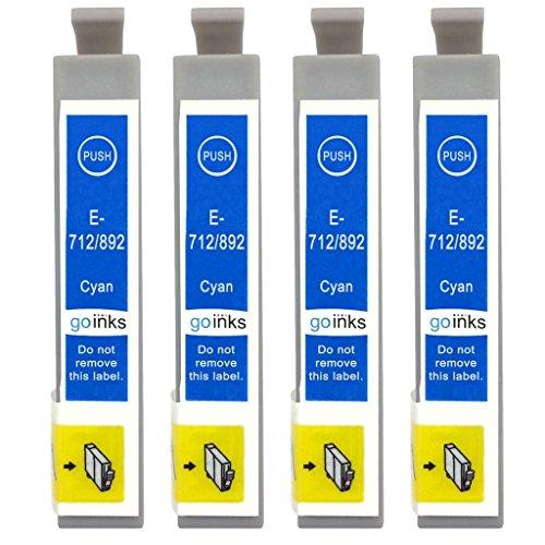 Go Inks E-712 Cartucce di inchiostro Ciano per sostituire Epson T0712 compatibile per Stampanti Epson Stylus (4 Inchiostri)
