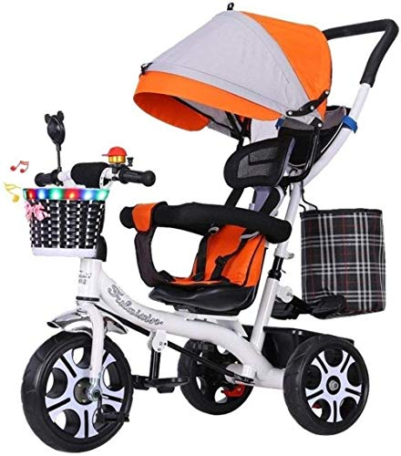 Kinderstoelen, kinderstoelen, kinderfietsen, driewielers driewielers voor kinderen van 1-6 jaar, met retro stalen frame, verstelbare stoel met luifel kinderwagen, trike converteerbare babyproducten