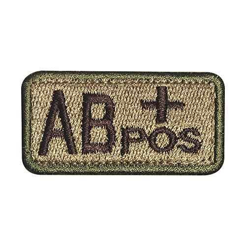 Morton Home Military Blood Type Positive Tactical Army Embroidered Patch (AB+POS)