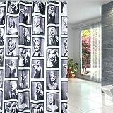 SRJ2018 Duschvorhang Marilyn Monroe Muster Badezimmer Wasserdicht Stoff 12 Haken 183 x 183 cm