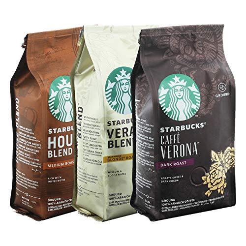 Starbucks Gemahlener Röstkaffee Set Caffé Verona, House Blend, Veranda Blend, Kaffee, 3 x 200 g