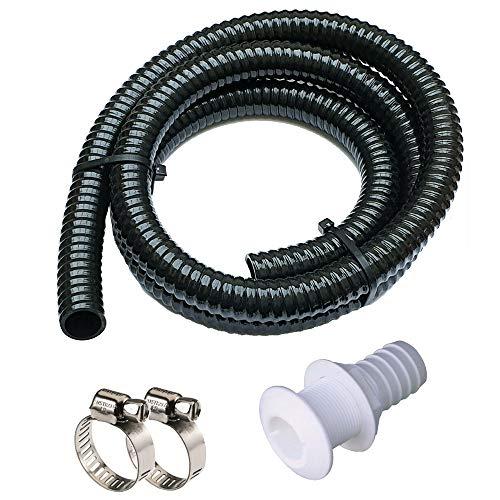 Maxzone Bilge Pump Installation Kit Bilge Pump Hose 1-1/8-Inch Dia Plumbing Kit   6 FT Premium Quality Kink-free Flexible PVC Hose   Includes 2 Hose Clamps and Thru-Hull Fitting