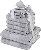 Highams morbido asciugamani Set Regalo, Cotone, Grigio Argento, 10pezzi