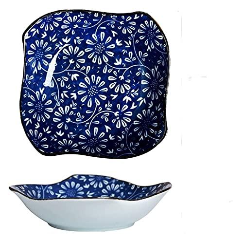 Placas de cena Sirviendo placa Placa de porcelana personalizada, Placa de motivos florales Adecuado para pasta, postre y bocadillos, 6 pulgadas Placa de aperitivo pequeño ( Color : A , Size : 2pack )
