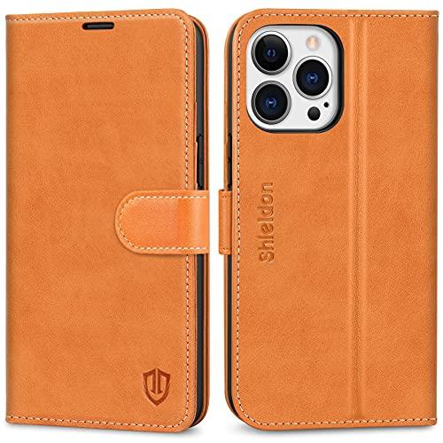SHIELDON Hülle für iPhone 13 Pro, Schutzhülle [Erstklassiges Rindsleder] [Schützt vor Stoß] [Kartenfach] [Magnetverschluss] [Stand] RFID TPU Klappbare Lederhülle Kompatibel mit iPhone 13 Pro 6,1 Braun