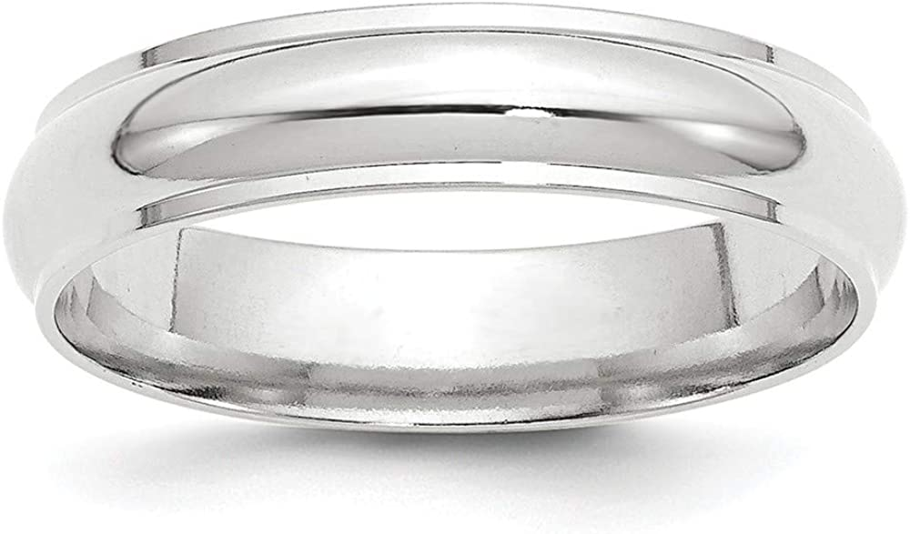 Solid 14k White Gold Special price for a limited time 5mm Plain Classic with Flat Edge Dome Weddi High quality new