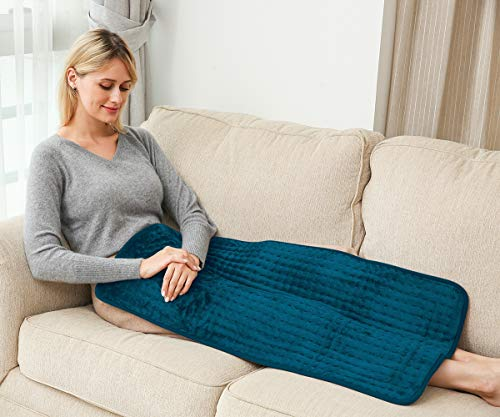 Ambershine 45cmx85cm XXXXL King Size Heating Pad with Fast-Heating Technology&6 Temperature Settings, Flannel Electric Heating Pad/Pain Relief for Back/Neck/Shoulders/Abdomen/Legs (Dark Teal)