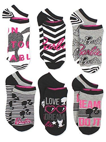 Barbie Doll Girls Womens 6 pack Socks (Shoe: 4-10 (Sock: 9-11), Black/White/Pink)