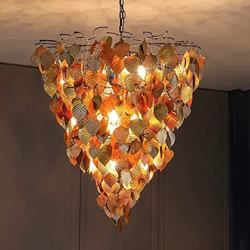 Zenghh Lámpara de lujo de lujo de lujo de alto grado Luz antigua antigua vieja de hojas descoloridas de la pared afuera lámpara colgante - 70 cm Viento grande chimes de viento Bodhi hoja ondeando para