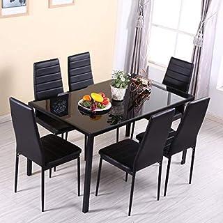 Juego de 7 sillas de Comedor de 7 Piezas de Mesa templada para el hogar, la Oficina, Muebles de Cristal o la Oficina en casa