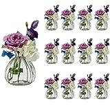 casavetro, 6 o 12 piccoli vasi da fiori, decorazione da tavolo per matrimonio, feste, set di bottiglie di vetro trasparente, Vetro, bianco, 12 Stück Prime