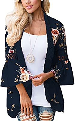 ECOWISH Womens Kimono Cardigan Floral Print Sheer Capes Loose Cardigans Cover Up Blouse Tops Navy Blue Small by