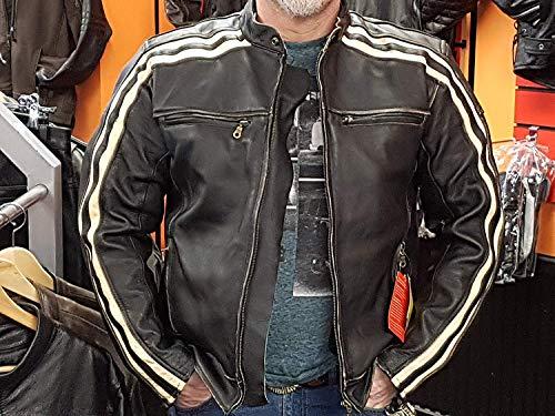 """Retro Schwarz Cafe Racer die """"Bonnie"""" 100% Bovine Leder Motorrad-Jacke CE Armoured–Elfenbein Streifen Gr. xl, Schwarz – Schwarz - 7"""