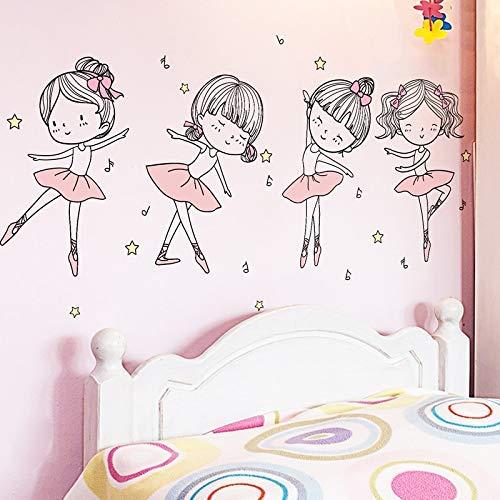 Etiquetas Engomadas De La Pared Del Bailarín De Ballet Diy Girls Dance Tatuajes De Pared Para La Habitación De Los Niños Dormitorio Del Bebé Decoración De La Casa De Guardería 104X52Cm