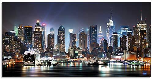 Artland Glasbilder Wandbild Glas Bild einteilig 100x50 cm Querformat USA New York Skyline Nacht Times Square Hudson River Städte Amerika T5WT