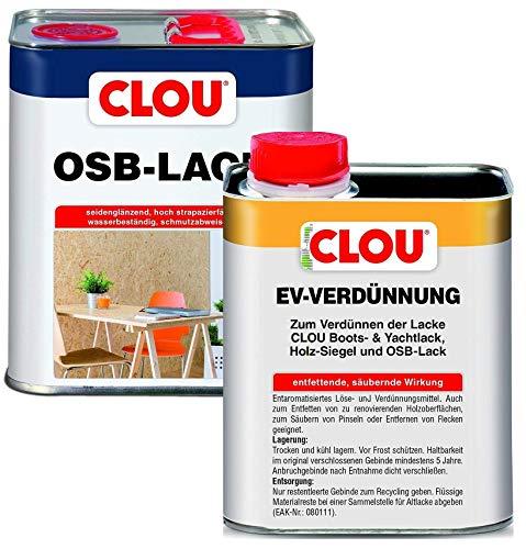 Clou OSB Lack: Seidenglänzender Holzlack zur Versiegelung von OSB-Platten, 3L + Clou EV-Verdünnung 750ml