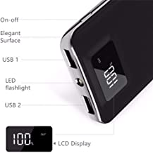 20,000mAh HIgh Speed Digital Power Bank Fast Charger Portable Ultra High Capacity 3.4A 2-Port USB +Led Flashlight External Battery Backup, for All Cell/Smart Phone Tablet Laptop iPhone Galaxy & More